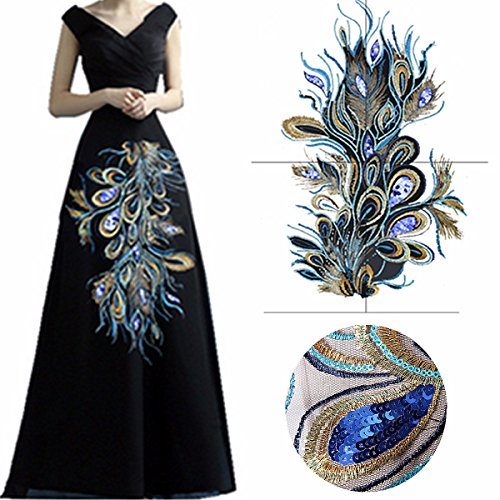 KINGSO 23.62 x 12.60″ Fashion Craft Embroidered Blue Sequins Peacock Feather Applique Sew Trim