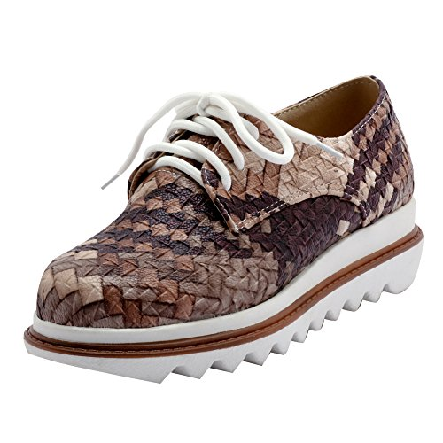 Latasa Womens Multicolored Flat Oxford Shoes Brown fFOd4ARlp