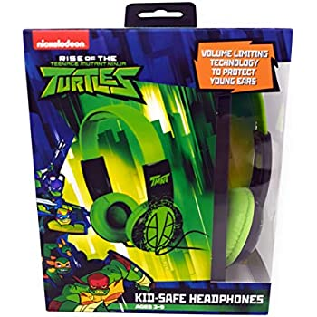 Teenage Mutant Ninja Turtle HP2-03265 Kids Safe Over-Ear Headphones with Volume Control, Full Range Stereo Sound, Cushioned Ear Pieces Deliver Crisp, Rich Sound, Green/Black