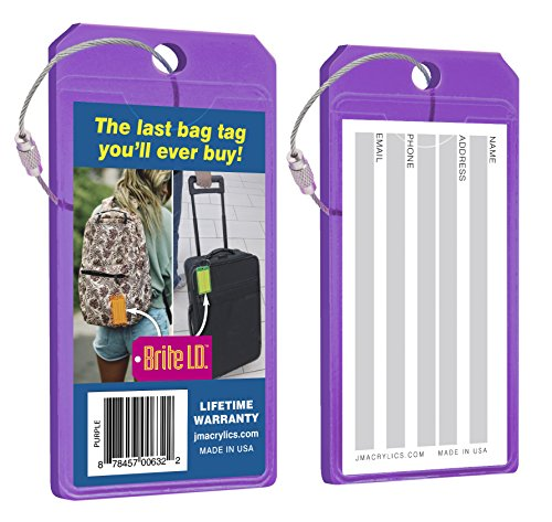 - Brite I.D. Neon Acrylic Luggage Tag Set: Durable and Secure Brightly Colored ID Holders for Travel, Neon Purple 2-Pack