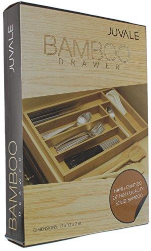 Kitchen Bamboo Drawer Organizer Tray for Silverware, Utensils, Cutlery, Kitchen (17 x 12 x 2 In) silverware organizers
