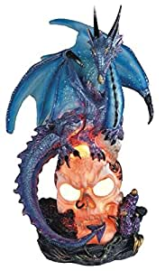 StealStreet SS-G-71357 Blue Dragon Standing on Skull Head Collectible Figurine Statue Decor