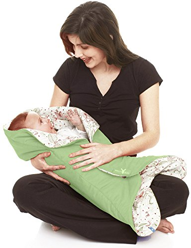 Wallaboo Baby Blanket Leaf, Soft Blanket, Newborn and Up, Durable Faux Suede and 100% Pure Cotton with Print, Green -  WWC.0609.1205