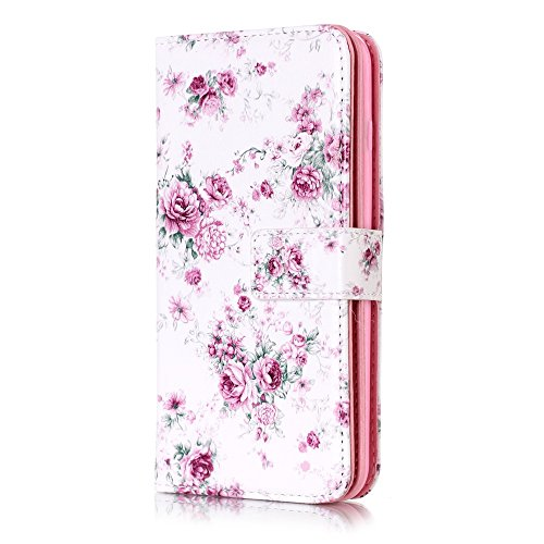 Denver Embossed Wallet - Easytop iPhone 7 Plus Case, iPhone 8 Plus Case, Luxury Embossed Design PU Leather Wallet Flip Cover Case with Built-in 9 Card Slots Stand Magnet Closure for iPhone 7/8 Plus (Rose)