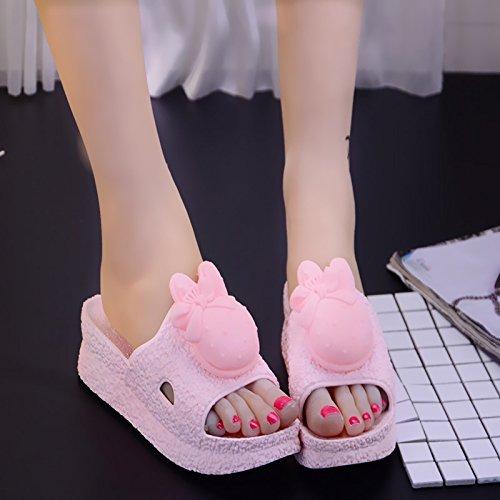 FankouVerano caricatura gruesas zapatillas mujer verano estancia cubierta antideslizante baño baño Casa cool zapatillas ,38,B