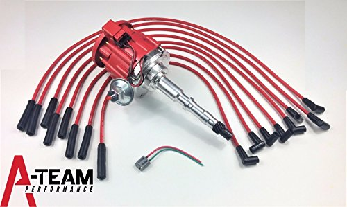 A-Team Performance HEI DISTRIBUTOR 65K RED SPARK PLUG WIRES Compatible With AMC JEEP 67-90 290 304 343 360 390 401