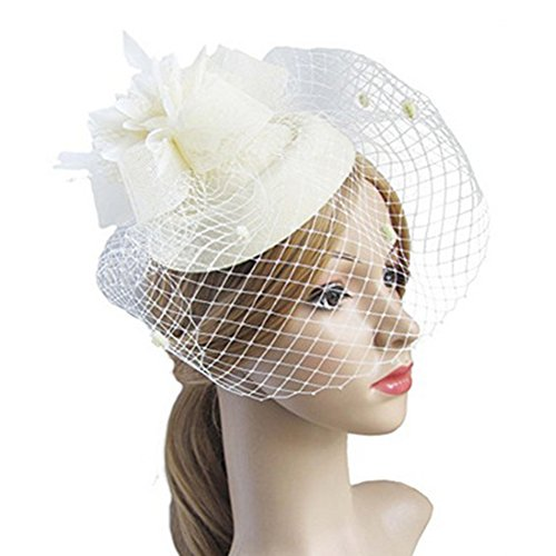 Feather Mesh Net, Fascinating Hair Clip Hat Bowler Veil Wedding Party Hat for Ladies(White) -