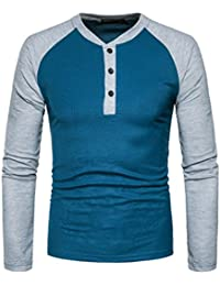 Casual Crewneck Button Raglan Long Sleeve Slim Fit T-Shirt
