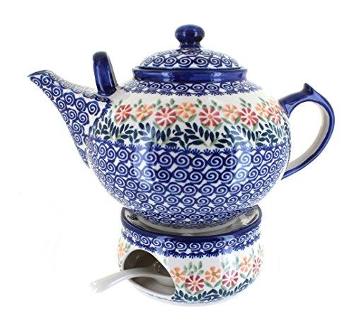 Polish Pottery Garden Bouquet Large Teapot & Warmer
