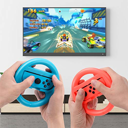 Beastron Racing Games Steering Wheel compatible with Switch Mario Kart, Joy-Con Steering Wheel, Red & Blue 2 Pack