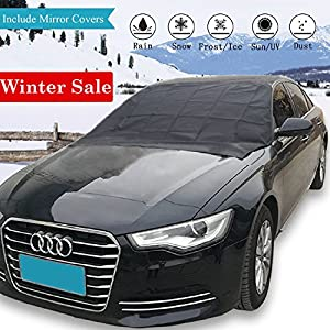 Windshield Snow Ice Cover – Extra Large 84'' X 49'' Magnetic Frost Guard Car Windproof Shield |Double Side| For Winter & Summer Fits Most Vehicles, SUV, Truck, Van with Mirror Protective Covers