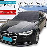 Windshield Snow Ice Cover – Large 84'' X 49'' - With Mirror Protective Covers |Double Side| For Winter & Summer, Magnetic Frost Guard Car Windproof Shield - Fits Most Vehicles, SUV, Truck, Van