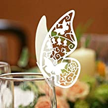 Butterfly Place Cards Wedding Table Number Name Place Cards, 50 Pieces Wine Glass Paper Card for Party Decoration, White