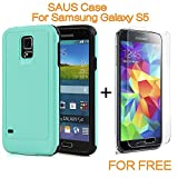 Galaxy S5 Case, SAUS [Slim Fit] AIR CUSHION Hybrid 2 IN 1 Hard Impact Dual Layer Shockproof Bumper Protective Case for Samsung Galaxy S5 (Mint)