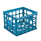 Hard Plastic Laundry Basket Indoor Blue, Aquarium Storage Crate Create a Child-Friendly Storage Solution by Stacking Them on Their Side to Store Books, Stuffed Animals or Other Items Plastic Blue