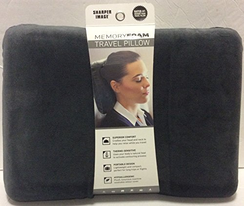 sharper-image-rate-1-memory-foam-travel-pillow-grey