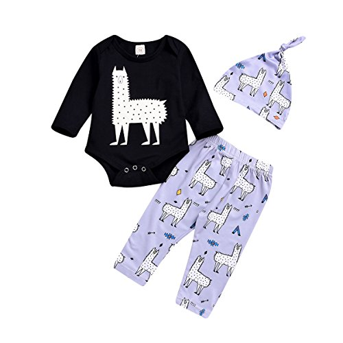 Viwrold Baby Girl Boy Clothes Newborn Baby Llama Bodysuit Long Sleeve Alpaca Romper+Hat+Animal Print Pant Outfit Set (Baby Llama Bodysuit, 12-18M)