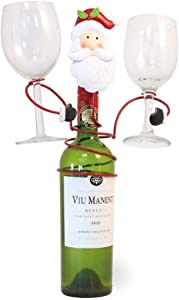 Boston International Christmas Wine Bottle and Glass Holder, 8.5 x 9-Inches, Jolly Santa