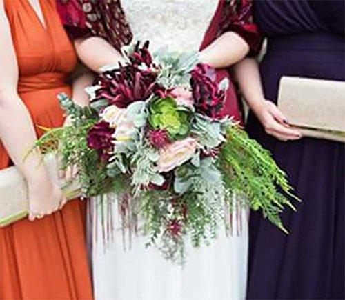 Cascading Boho Wedding Bouquet Burgundy Green - And Peach Burgundy