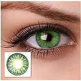 Lenti a contatto colorate, colore verde, senza gradazione, con contenitore incluso, 2 pezzi