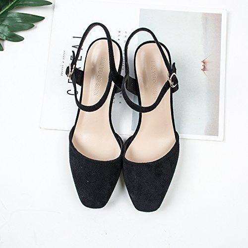 5cm et serrage Unique tête et carré talons dans Sandales fente Black 4 le Bold hauts l'été Chaussures avec printemps à de GAOLIM femelle Chaussures 0xCgwn