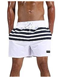 Men's Stripe Swim Trunk Quick Dry Beach Shorts Mesh Liner Boardshort with Pocket