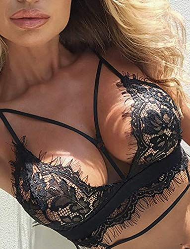 805f32ddd306 Women's Lace Bralette Strappy Lingerie Set Bridal Eyelash Bra Panty Set  Valentine's Day Underwear Negligee