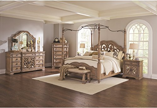 Antique Traditional Canopy Eastern King Size Bed Bedroom Furniture 4pc Set Light Finish Beautiful Matching Dresser Mirror (California King Dresser)