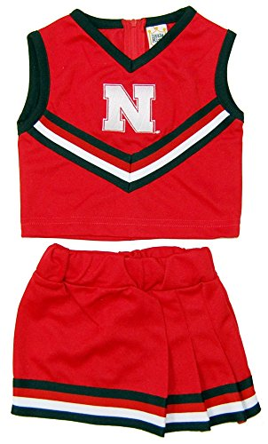 Youth Cheerleader Outfit 2 Piece (Little King NCAA Nebraska Cornhuskers Two Piece Cheer Dress, Size 6, Red)