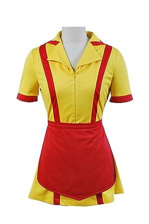 2 Broke Girls Max/&Caroline Cosplay Costume Apron Maid Dress Waitress Fancy Set