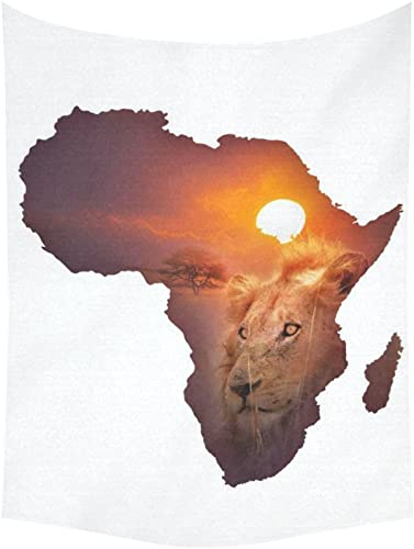 INTERESTPRINT Safari Decor African Art Wildlife Tapestry, Continent Lion Sunset Tapestry Wall Hanging Art Sets 80 X 60 Inches