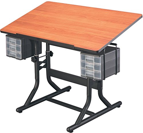 Alvin Craftmaster Hobby - Alvin CM40-3-WBR CraftMaster Art, Drawing and Hobby Table Black Base with Cherry Woodgrain24