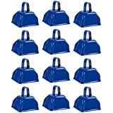Cow Bell Set - 12-Count Loud Bells with Handles, Cowbells, Noisemaker Call Bells for Football Games, Weddings, Classroom Use, Blue - 3 x 2.8 x 2.49 inches