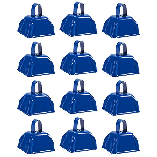 Cow Bell Set - 12-Count Loud Bells with Handles, Cowbells, Noisemaker Call Bells for Football Games, Weddings, Classroom Use, Blue - 3 x 2.8 x 2.49 inches]()