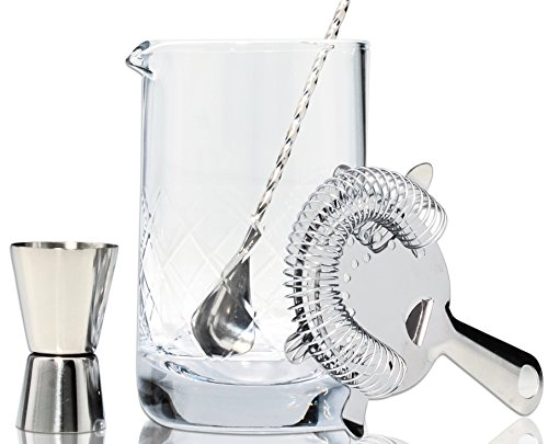 Premium Crystal Cocktail Mixing Glass Set - Includes Mixing Spoon, Strainer, Jigger and 17oz 500ml Cocktail Glass - Sturdy, Thick Base - Perfect for Amateurs & Pros - Great Gift (Crystal Pitcher Set)