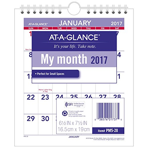 Mini Monthly Wall Calendar, 6 1/2 x 7 1/2, White, 2017