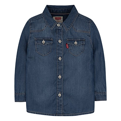 Levi's Baby Girls' Denim Western Shirt, Blue Winds, 12 Months Button Up Shirt Jeans