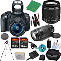 Canon EOS Rebel T5i Camera with 18-55mm IS STM Lens + 75-300mm III Zoom + 2pcs 16GB Memory + Camera Case + Card Reader + Professional Tripod + 6pc Starter Set - International Version