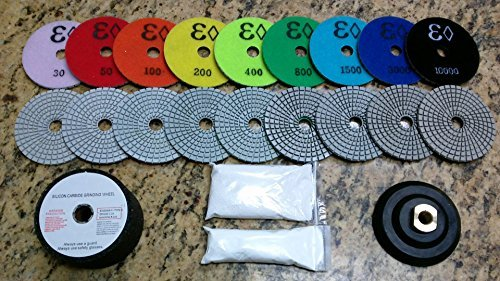 4 Wet/Dry Diamond Polishing Pad Complete Set (10pcs+1+a for sale  Delivered anywhere in USA