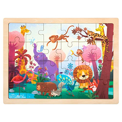 Colorful Original Art - ROBUD Wooden Jigsaw Puzzles for Kids Ages 3+,Sturdy Wooden Tray,24-Piece Puzzles,Colorful Original Artwork,Preschool Puzzles Educational Learning Toys for Toddlers/Girls/Boys(Wonderful Forest)