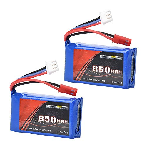 Dilwe RC LiPo Battery, ENGPOW 7.4V / 2S 850mAh 35C JST Plug LiPo Battery for WLtoys V912 V915 V262 V333 WL911 Accessory (2Pcs)