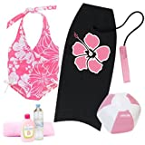18 Inch Doll Beach Set of 6 Pieces, Doll Bathing Suit, Towel, Boogie Board, Beach Ball and More