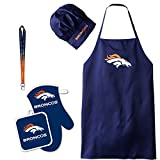 Denver Broncos NFL Barbeque Apron and Chef's Hat and Oven Mitt with Bottle Opener