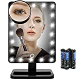 LED Mirror, FLYMEI Makeup Mirror with Touch Screen, Vanity Mirror with Adjustable Light, Detachable 10X Magnification Spot Mirror, High Definition Clarity Cosmetic Mirror with AA Batteries and USB Cab