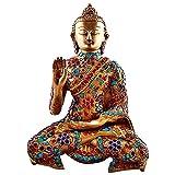 11'' Large Metal Buddha Statue, Vintage Coral Turquoise Gemstones Bronze Tibetan Old Buddhism Chinese Sakyamuni Buddha Sculpture