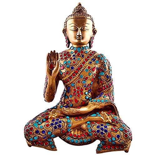 11'' Large Metal Buddha Statue, Vintage Coral Turquoise Gemstones Bronze Tibetan Old Buddhism Chinese Sakyamuni Buddha Sculpture by CraftVatika