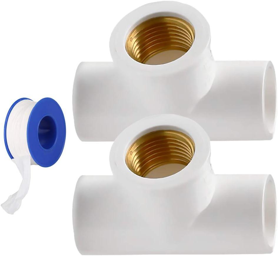 YOFASEN Conectores adaptadores de accesorios de tubería de PVC de 2 piezas - Conectores en T de rosca hembra, 20 mm - con cinta de sellado de plomería