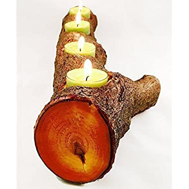 Full Log Branch Wood Tea Light Candle Holder