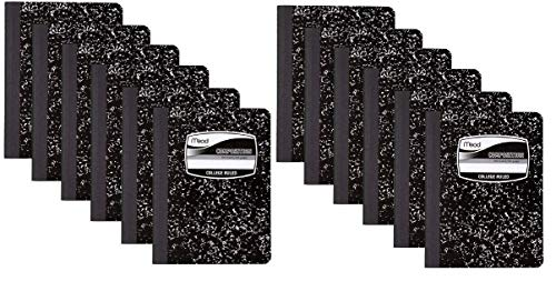 12 PACK-Of Mead Square Deal Composition Book, 100-Count, College Ruled, Black Marble (09932) 12 pack
