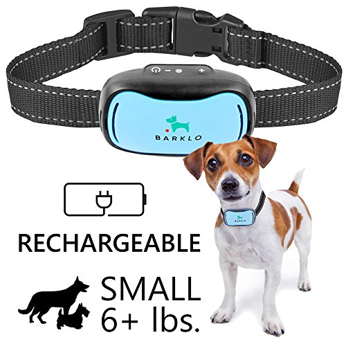 Dog Bark Muzzle - Small Dog Bark Collar For Tiny To Medium Dogs by BARKLO Rechargeable And Waterproof Vibrating Anti Bark Training Device - Smallest & Most Safe On Amazon - No Shock No Spiky Prongs! ( 6+ lbs ) (Blue)